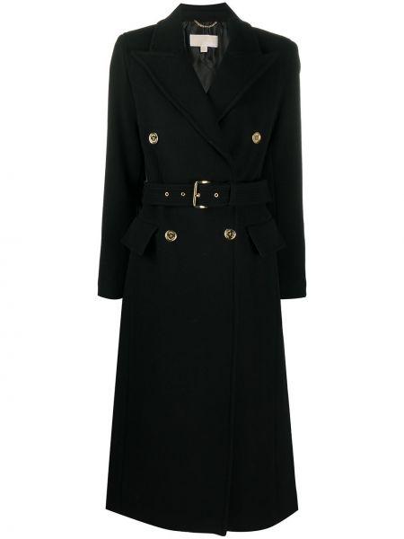 Шерстяное черное длинное пальто с воротником с поясом Michael Michael Kors