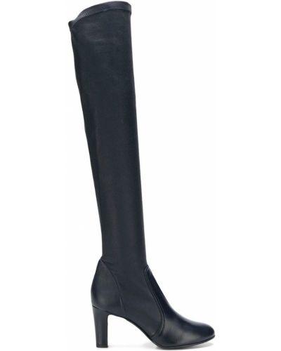 Синие кожаные ботфорты на каблуке A_plan_application