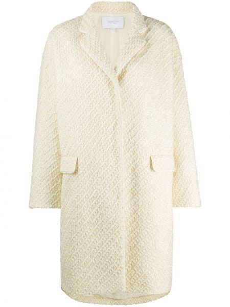 С рукавами шерстяное бежевое длинное пальто с лацканами Giambattista Valli