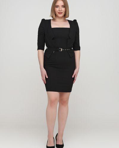 Прямое черное платье с поясом Gaudi