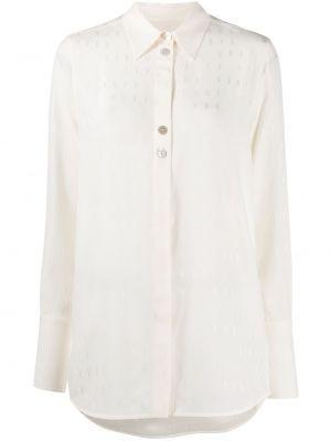 Шелковая бежевая классическая рубашка с вышивкой с воротником Victoria, Victoria Beckham