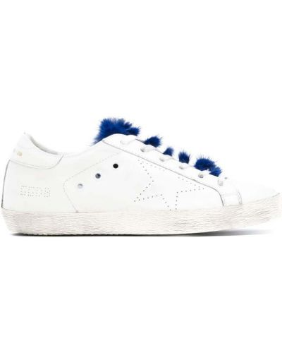 Белые кроссовки с мехом Golden Goose Deluxe Brand