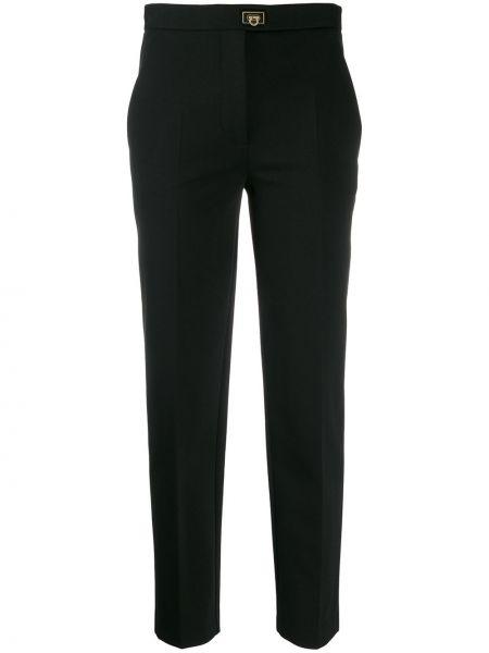 Черные укороченные брюки со складками с высокой посадкой из вискозы Salvatore Ferragamo