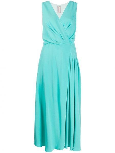 Zielona sukienka midi rozkloszowana z wiskozy Antonio Marras