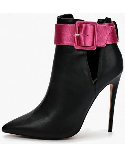 Ботинки на каблуке черные с острым носком Lost Ink.