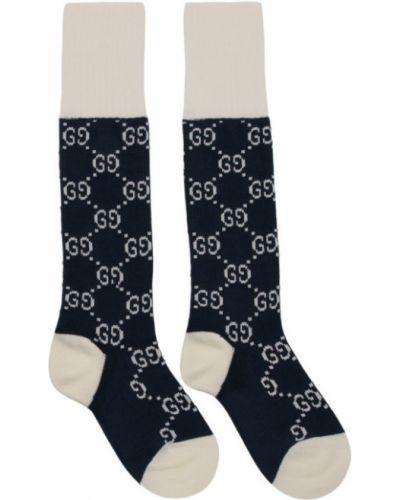 Białe wysoki skarpety bawełniane Gucci