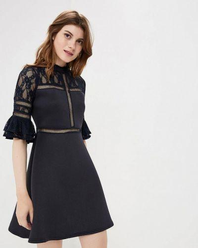 Коктейльное платье осеннее синее Lost Ink.