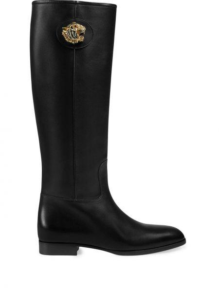 Skórzany czarny buty na wysokości w połowie kolana Gucci
