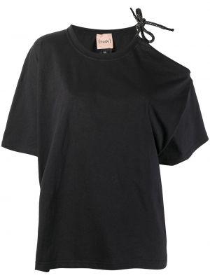 Хлопковая прямая черная футболка Nude