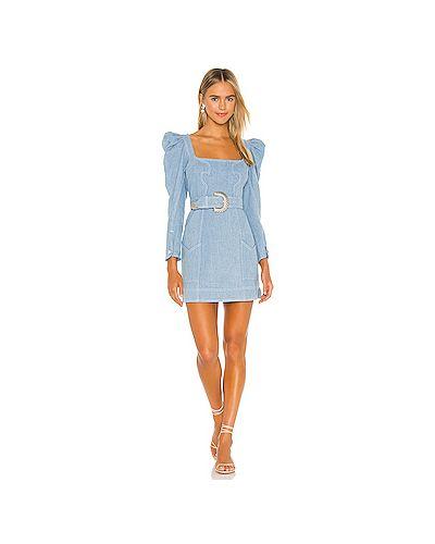 Текстильное синее платье мини на пуговицах с пряжкой For Love & Lemons
