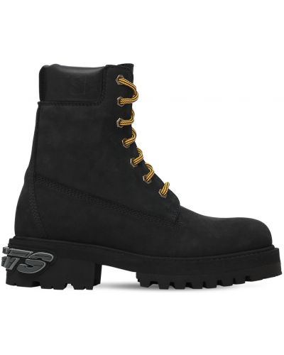 Кожаные ботинки на шнуровке на платформе Vetements