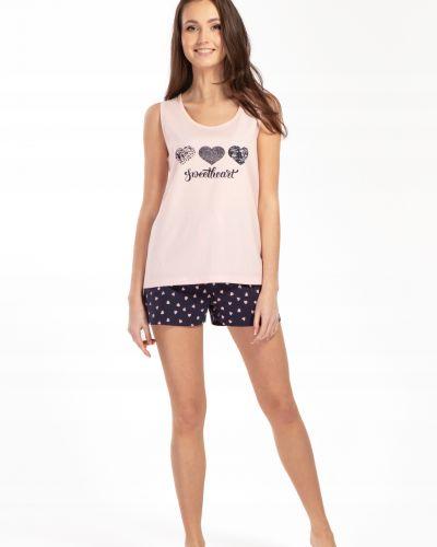 Różowa piżama bawełniana bez rękawów Envie