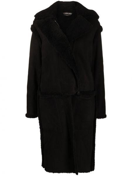 Шерстяное черное пальто на молнии Tom Ford