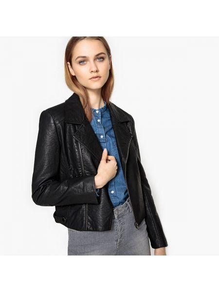 Черная кожаная куртка байкерская с воротником с подкладкой See U Soon