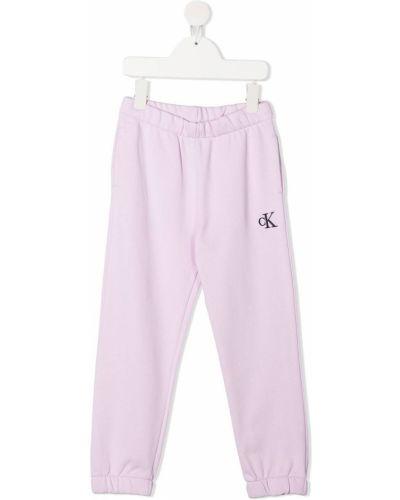 Прямые льняные брюки с карманами Calvin Klein Kids
