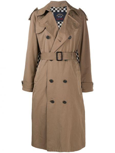 Коричневое длинное пальто с капюшоном двубортное Paul & Shark