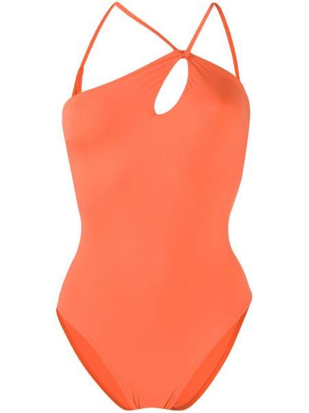 Асимметричный оранжевый слитный купальник с открытой спиной без рукавов Sian Swimwear
