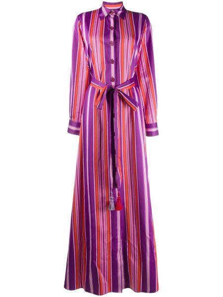 Fioletowa sukienka długa w paski z długimi rękawami Evi Grintela