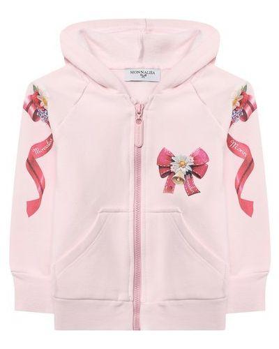 Хлопковая розовая майка Monnalisa