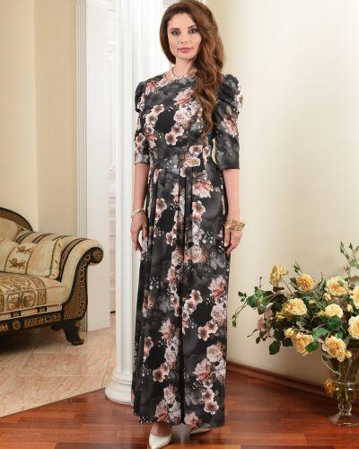 С рукавами вечернее платье со складками на молнии с вырезом Salvi-s
