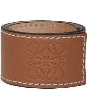 Кожаный браслет с тиснением белый Loewe