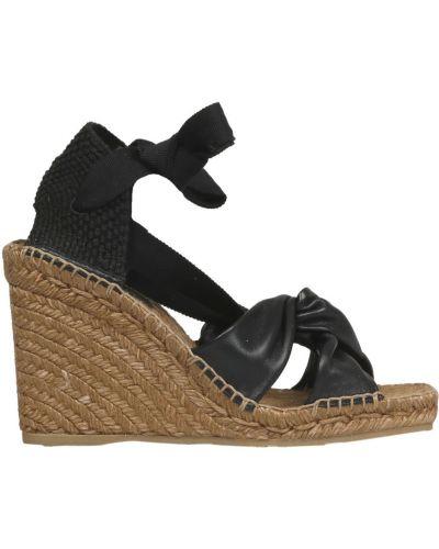 Czarne sandały na koturnie Jimmy Choo