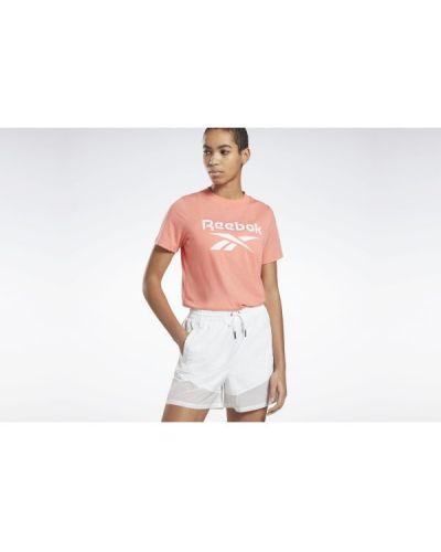 T-shirt bawełniana - pomarańczowa Reebok