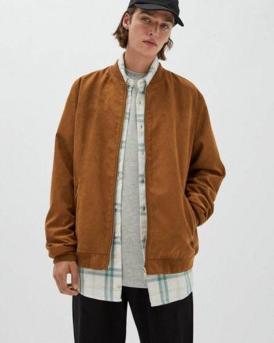 Коричневая кожаная куртка Pull&bear