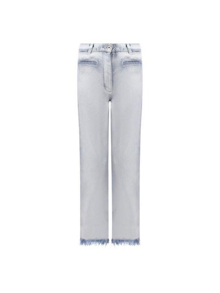Хлопковые синие джинсы с бахромой Loewe