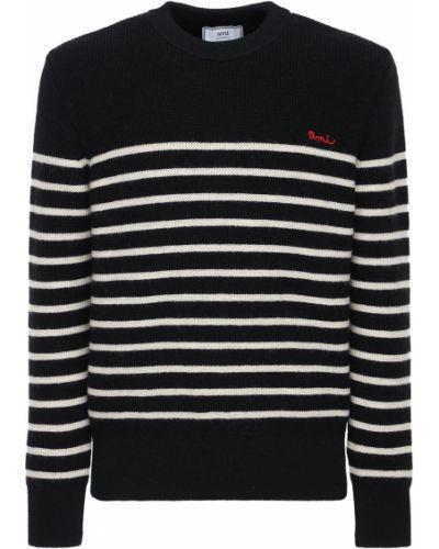 Wełniany czarny sweter z haftem Ami Alexandre Mattiussi