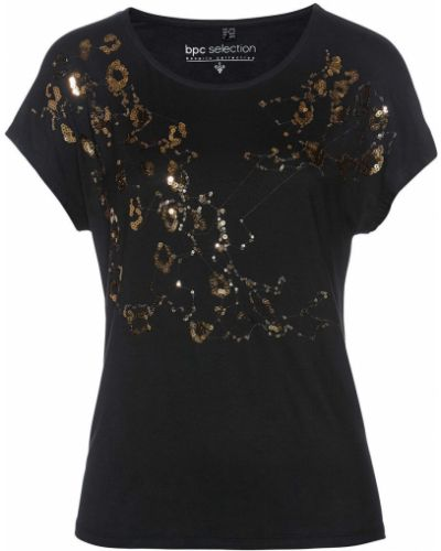 Черная блузка с пайетками свободного кроя Bonprix