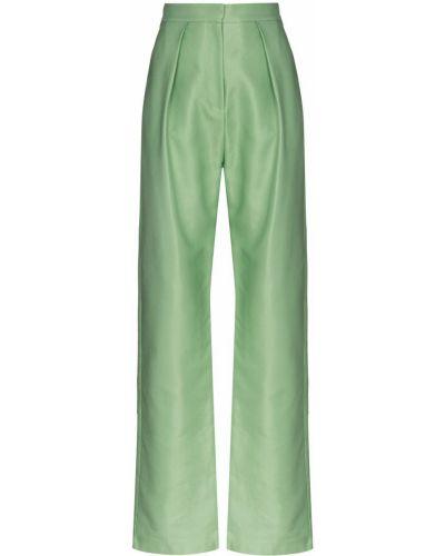 Плиссированные свободные брюки мятные с карманами Aleksandre Akhalkatsishvili