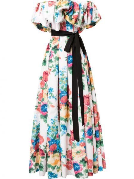 Открытое вечернее платье с оборками в цветочный принт Carolina Herrera