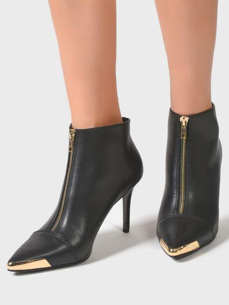 Кожаные ботильоны - черные Versace Jeans Couture