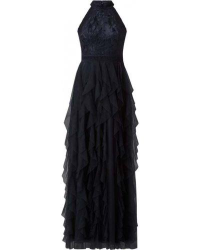 Niebieska sukienka wieczorowa rozkloszowana tiulowa V.m.