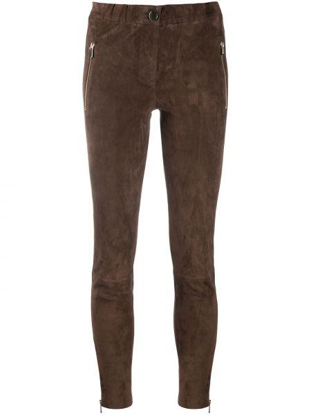 Коричневые зауженные кожаные брюки Arma