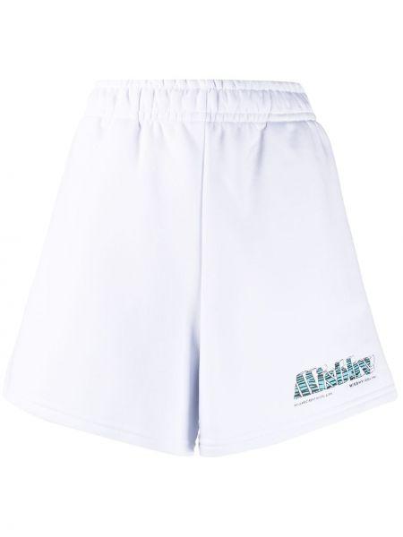 Białe krótkie szorty bawełniane z printem Misbhv