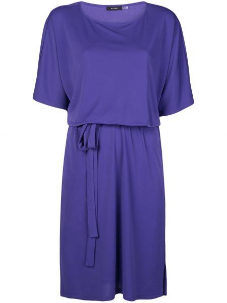 Фиолетовое прямое платье мини с вырезом эластичное Natori