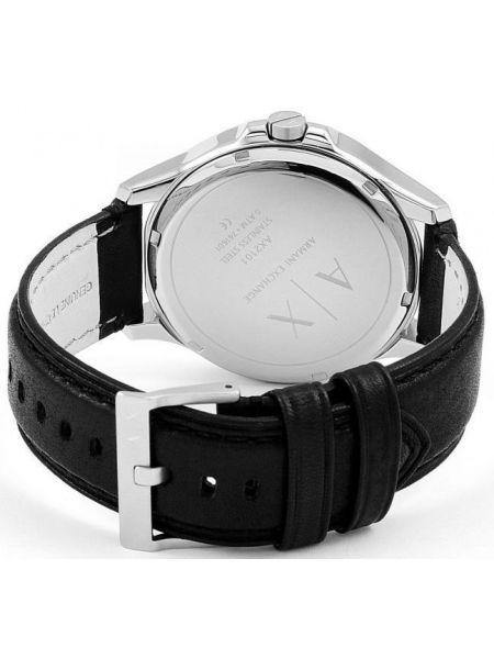 Со стрелками кожаные серебряные часы на кожаном ремешке Armani Exchange