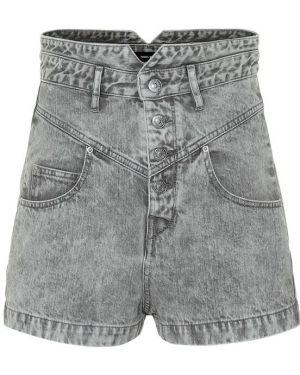 Однобортные хлопковые джинсовые шорты со стразами Isabel Marant