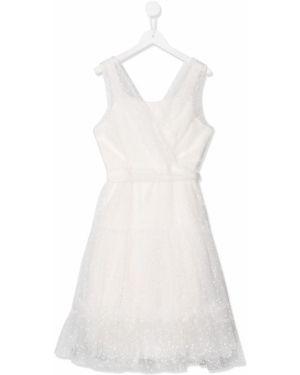 Biała sukienka kopertowa bez rękawów Aletta