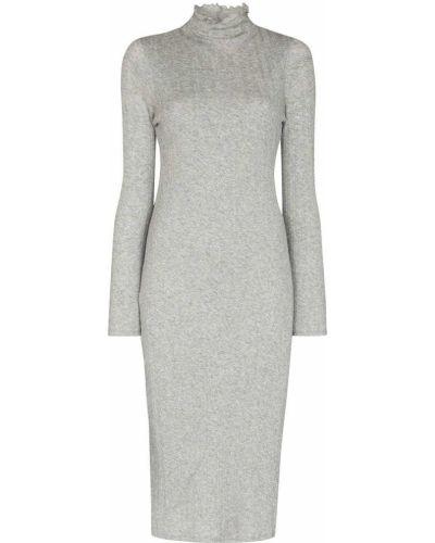 Платье макси с длинными рукавами - серое Skin