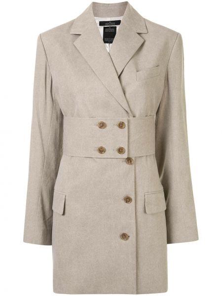 Бежевый удлиненный пиджак оверсайз с карманами Rokh