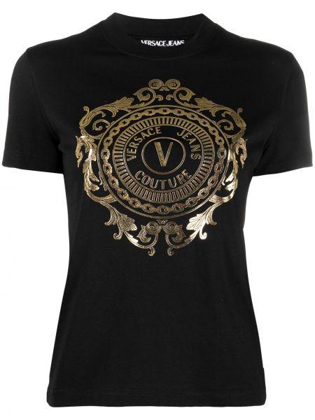 Трикотажная черная джинсовая рубашка с короткими рукавами Versace Jeans Couture