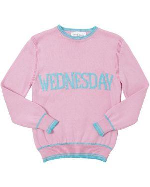 Różowy pulower bawełniany w paski Alberta Ferretti