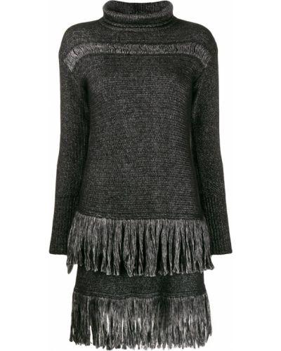 Платье макси с длинными рукавами - черное Blumarine