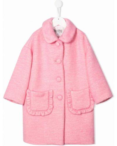 Różowy długi płaszcz wełniany Simonetta