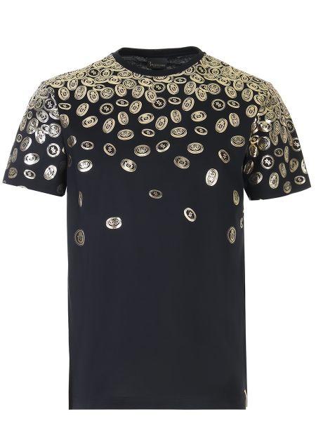Хлопковая черная футболка с круглым вырезом с короткими рукавами Billionaire