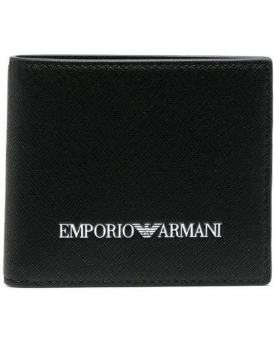 Czarny portfel z printem Emporio Armani