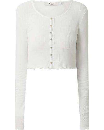 Biały kardigan bawełniany z długimi rękawami Na-kd